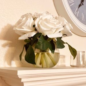 Faux White Roses in Vase